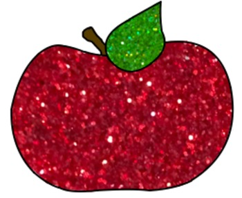 Glitter Apple and Pencil for Personal or Commercial Use