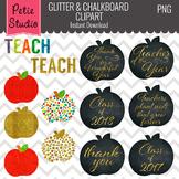 Glitter Apples, Education Clipart, Teacher Clipart, Apple Clipart - Objects109