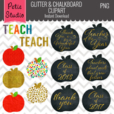Glitter Apples, Education Clipart, Teacher Clipart, Apple