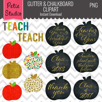 Glitter Apples, Education Clipart, Teacher Clipart, Apple