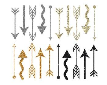 Glitter Arrow Clipart, Glitter, Arrow, Clipart Set #209