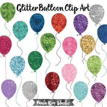 Glitter Balloon Clip Art Set