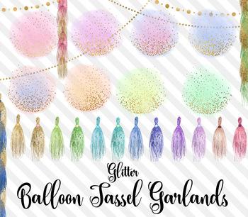 Glitter Balloon Tassel Garland Clipart, baby shower, birthday, wedding overlays