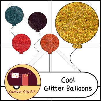 Glitter Balloons Clip Art {CU - ok!}
