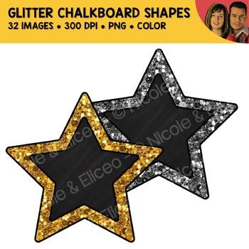 Glitter Chalkboard Shapes Clipart