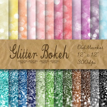 Glitter Bokeh Digital Papers - Glitter Textures - 24 Different Papers - 12 x 12
