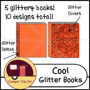 Glitter Books in cool colors, Clip Art {CU - ok!}