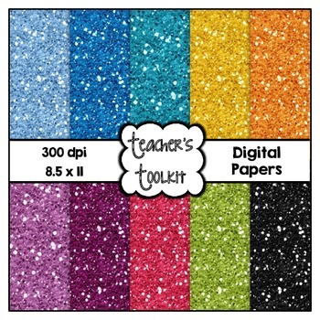 Glitter Brights Solids Digital Background Papers {8.5 x 11