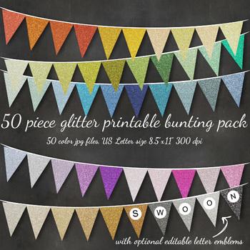 Glitter Bunting Alphabet Flag Banner - Printable, Editable in over 50 Colors