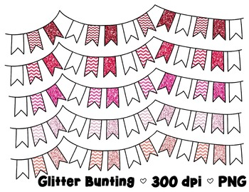Glitter Bunting Banner Clipart - 5 graphics