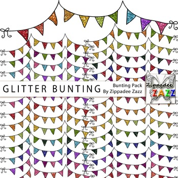 Glitter Bunting Clipart - 26 different colour combinations!