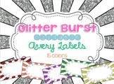 Glitter Bursts Editable Classroom Labels 2x4 { Avery Label 8163 }