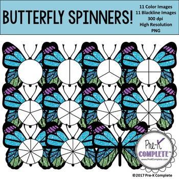 Glitter Butterfly Spinners Clip Art