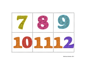 Glitter Calendar Numbers White Background