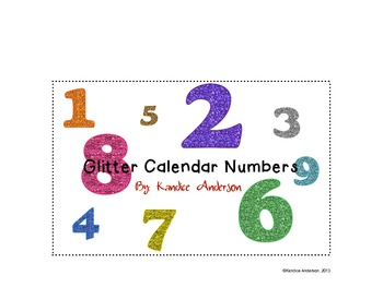 Glitter Calendar Numbers White Background