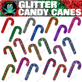 Glitter Candy Canes {Upzaz Digital Clipart}