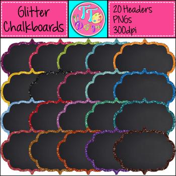 Glitter Chalkboard Headers/Frames/Labels Clip Art CU OK