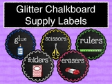 Glitter Chalkboard Supply Labels