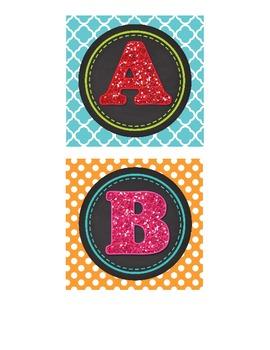 Glitter, Chalkboard and Fun Prints Word Wall Alphabet Headers