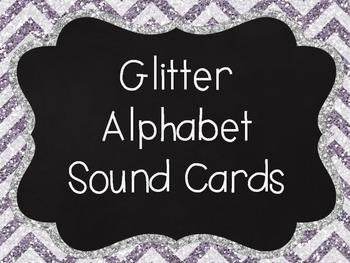 Glitter Chevron Alphabet cards