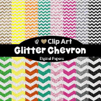 Glitter Chevron Backgrounds - Digital Papers