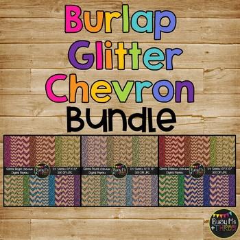 BURLAP Glitter Chevron Bundle Digital Papers {Commercial Use Digital Graphics}