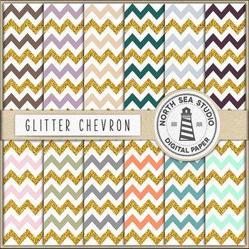 Glitter Chevron Digital Paper