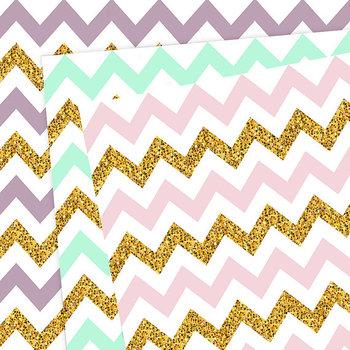 Glitter Chevron Digital Paper, Zig-Zag Pattern, Gold Glitter