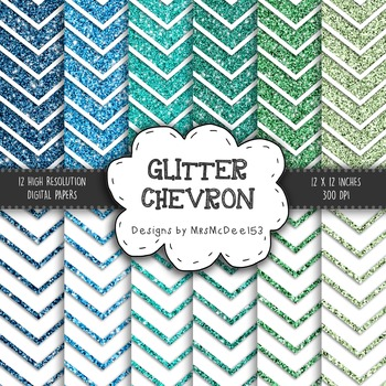 Glitter Chevron Digital Paper Set - Green and Blue Shades - {12 sheets}
