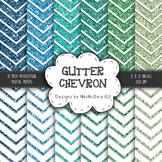 Glitter Chevron Digital Paper Set - Green and Blue Shades