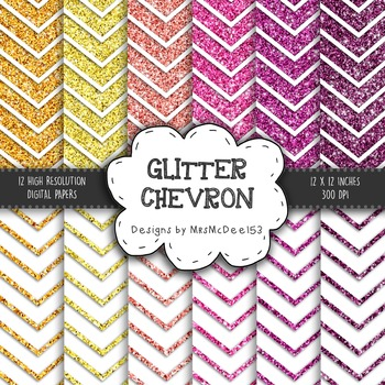 Glitter Chevron Digital Paper Set - Pinks, Purples, and Oranges {12 sheets}