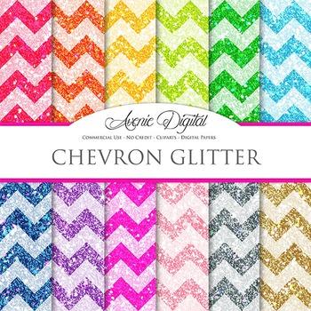 Glitter Chevron Digital Paper sparkle glittery texture scrapbook background
