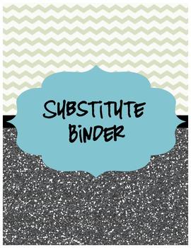 Glitter & Chevron Substitute Teacher Binder