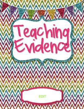 Teacher Evaluation Evidence Binder - Charlotte Danielson Model - Glitter Chevron