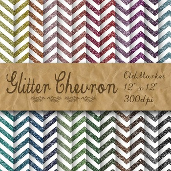 Glitter Chevron Textures - Digital Paper Pack - 24 Different Papers - 12 x 12