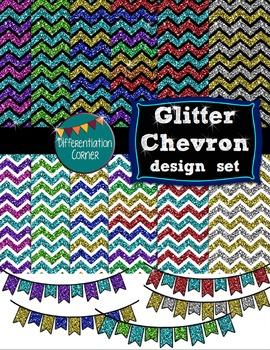 Glitter Chevron design set