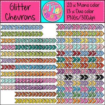 Glitter Chevrons Clip Art CU OK