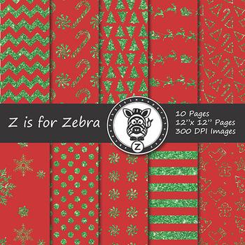 Glitter Christmas Digital Paper Pack 1 - CU OK! { ZisforZebra }