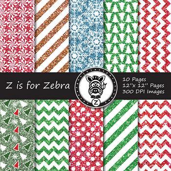 Glitter Christmas Digital Paper Pack 4 - CU OK! { ZisforZebra }