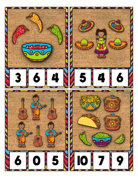 Glitter Cinco de Mayo Counting 0 to 20 Clip Card Math Center - Holiday Theme