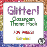 Classroom Theme Decor / Organization - Mega Bundle (Editable!) - Rainbow Glitter