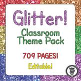 Classroom Theme Decor / Organization - Mega Bundle (Editable!) - Rainbow Glitter