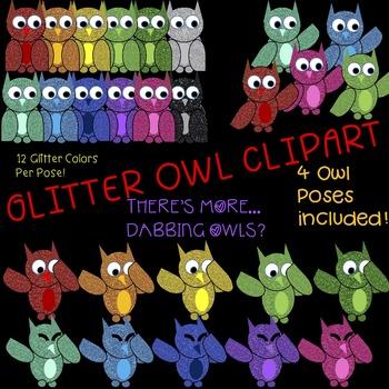 Glitter Clipart- OWLS
