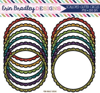 Glitter Clipart - Scalloped Circle Frames