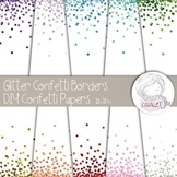 Glitter Confetti Digital Papers and Borders