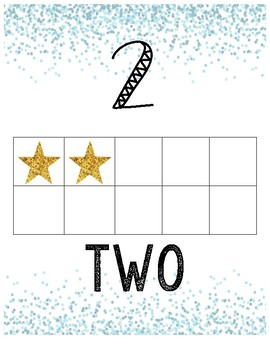 Glitter Confetti Number Line (blue and gold)