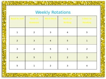 Glitter Daily 5 Rotation Schedules for every day of the week