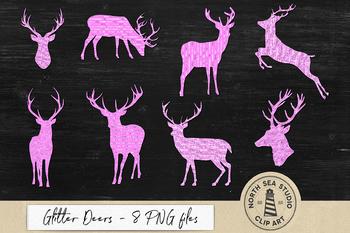 Glitter Deers Clipart