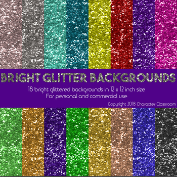 Glitter Digital Backgrounds for Commercial Use - Bright Glitter Scrapbook Paper