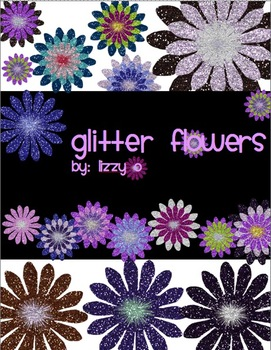 Glitter Digital Flowers